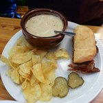 Judi Judi Judi - half pulled pork sandwhich and creamy potato soup, kettle chips, and two slices