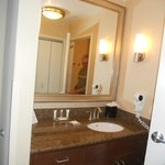 Sink area with clothes closet is separate from shower and toilet area
