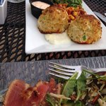 J Paul at Inner Harbor. Seared ahi tuna appetizer $14 and the crab cake platter $30. Delicious!