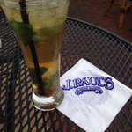 J Paul special mojito w brown sugar and bourbon.  Yum!!!