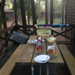 Picnic table at the cabin