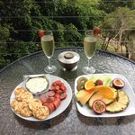 We brought cabana an cheese and crackers from iga and sat out on the deck all arvo. The fruit pl