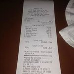 Harrys Steakhouse receipt