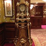 Beautiful antique clock in lobby sitting area.