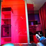 "Closet and bath ""walls"" are hot pink translucent"