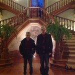 Monumental wooded staircase at Vidago Palace Hotel in Northern Portugal