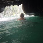 Climb through the hole, just do it! So cool and you come out under the falls!!!