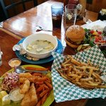 Fish & Chips, BBQ Burger and Steamers