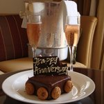 Anniversary cake and sparkling wine