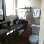 The bathroom, nice and clean, don't forget to bring your own toothpaste!