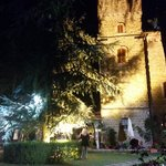 outside the castello in the gardens at night