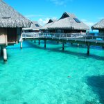 Over water bungalows at the Hilton Bora Bora