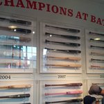 Bat displays from World Series Championships
