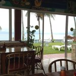 Inside the dining room, looking towards the beach