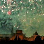 Bastille day fireworks over the Cité of Carcassonne