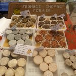 Delicious Goats cheeses from the Saturday market in Lagrasse
