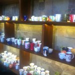 Restaurant for breakfast - you can choose your coffee mug!!