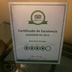 Tripadvisor rating card in the lobby