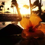 Sunset from our room, with flower and lava ; )