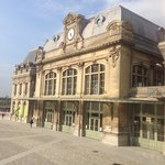 Saint Omer rail station from bedroom at Chic o Rail hotel.
