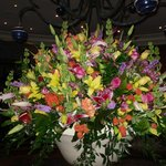 Flower arrangement in main concourse hallway