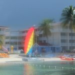hotel view from small island beach area