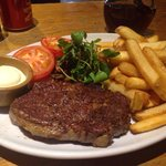 Welsh Ribeye Steak chunky chips and local produce just what you need after a long day