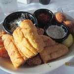 fried seafood platter. Fresh, lightly breaded and cooked to perfection.