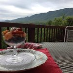 Fresh fruit with yogurt, served up with an incomparable view