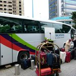 unloading the bus at Sheraton