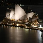 Close-up of Opera House by night