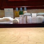 Bathroom toiletries and towels