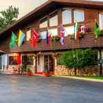 Flowers and Flags Welcome Guests of the Bavarian Inn