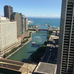 Sunny view down the Chicago River