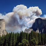Half Dome fire Sept 2014, from Merced River at Housekeeping Campground.