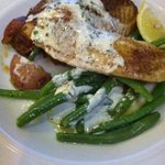 Talapia with garlic green beans, roasted potatoes & remaulade sauce