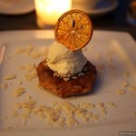 Pastilla with caramelised apples and ice cream