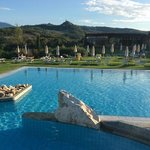 the swimming pool and surrounding countryside