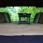 The sit-out on the upper deck of the room at Baghvan, Pench National Park