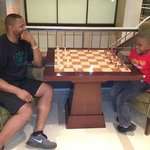 Chess Table in the Lobby with my son