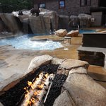 Outdoor pool and sauna area
