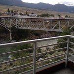 View from our balcony (bridge over Yellowstone River in Gardiner MT)