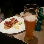 The famous Nuremberg sausages with a glass of beer