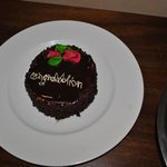 Honeymoon cake brought straight to our room