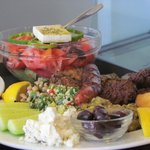 Mezze platter and Greek salad