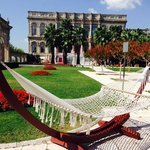 view of Ciragan Palace and lovely gardens