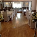Function room with wedding decoration options on show
