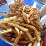 Greasy fries and onion rings