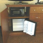 Microwave & small refrigerator under TV