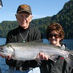 One of the beautiful Silver Salmon we caught with Joe of Go Fish Charters Ketchikan